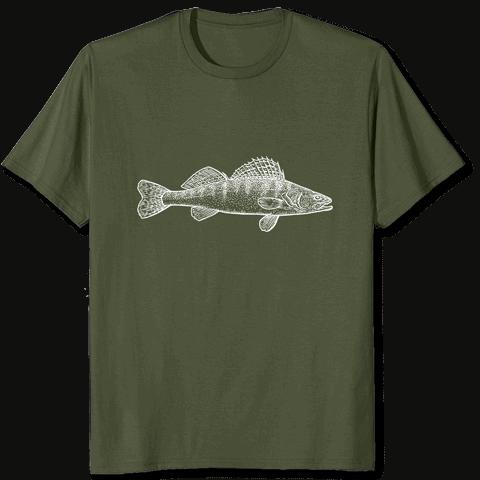 Zanderfang Fisch Tshirt Zander grün olive
