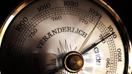 Barometer zeigt Luftdruck zum Angeln an